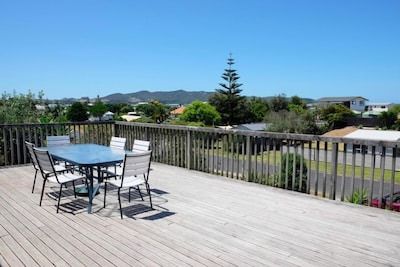 Outdoor living on our deck - it's big!  Turn around and you can see the sea!