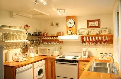 European-style kitchen; stove; microwave; washer; dryer; dishwasher; fine china.