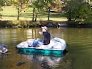 Using the paddleboat for fishing