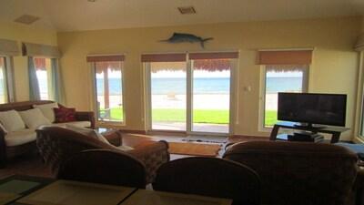 living room facing the beach/ocean