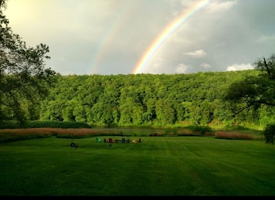 Backyard!  Flat, walk in access to the Delaware River.  And maybe a rainbow!