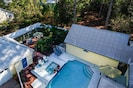 Aerial view of pool and patio areas.