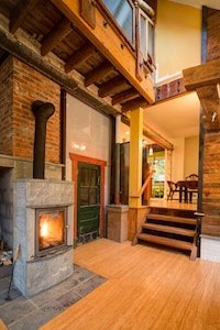 A cozy fire will greet you during the cooler months.