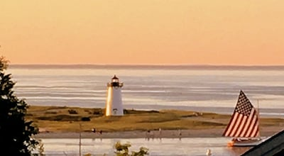 Enlarged view of Edgartown Lighthouse from new upper deck.