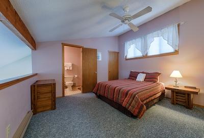 Loft bedroom (queen).  Private bathroom / shower.