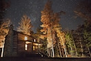 Cabin at night. (Photo by M. Marshall.)