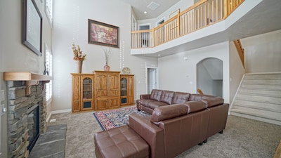 Great Room with gas fireplace, TV, space to gather