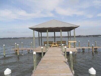 view of pier with gazebo