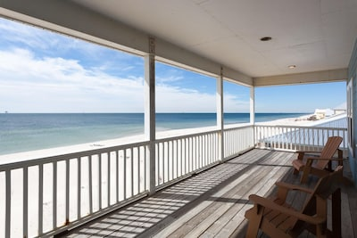 Spacious Covered Deck. Watch dolphins flip on the ocean right on the deck!