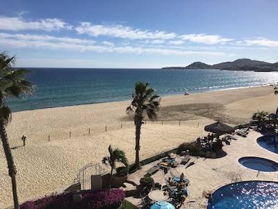 View of the Sea of Cortez and our pools from the condo terrace.