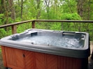 Our hot tub on the deck is cleaned and refilled for each set of guests.