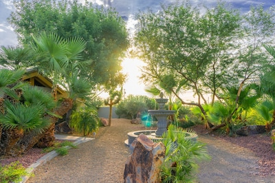 Our entire 1/2 acre, gated property features lush, desert-friendly landscaping!