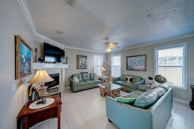 Living Room Area with Two Large Leather Sofas and Love Seat-Includes One Sleeper