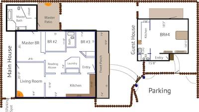 Floor plan of the Main & Guest house (casita).