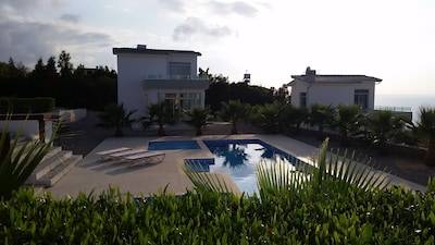 View of the villa from the opposite end of the site's shared pool