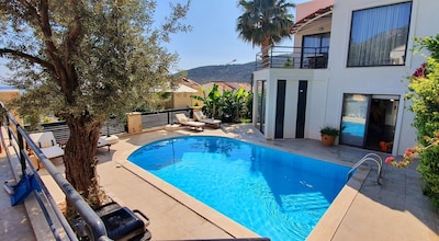 Villa One, poolside view of villa.