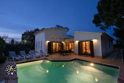Rear of villa and pool at night