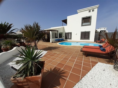 Spacious, south facing terrace, pool in sun all day, Hot Tub & Pool Shower.