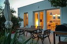 During the night you can use  rolling protective shutters to maintain privacy.