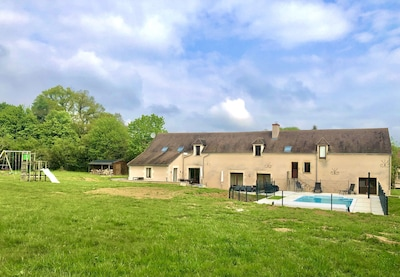 Large house with huge terrace and garden, swimming pool, trampoline, swingset