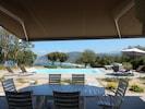 Vue terrasse piscine mer