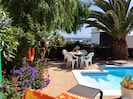 Mature garden with Canarian planting, pool, sunshine, shade and a lovey sea view