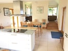 open plan kitchen, dining room and sitting room