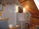 Blue and white en-suite bath/shower room