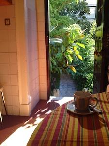 kitchen door opens to the garden