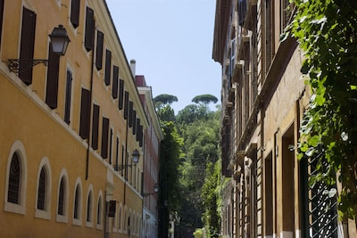 Via dei Riari with the Gianicolo Hill in the background.