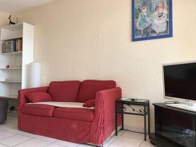 salon avec télé grand écran