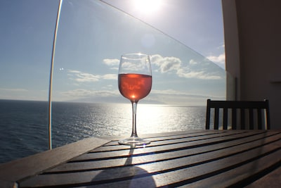 A stunning view from the balcony. Watch the sunset with a glass of wine or two.