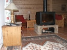 Wood burning fire, keeps the living area cosy. Firewood included