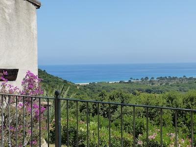 une partie de la vue sur la mer plage de FAUTEA  et montagne