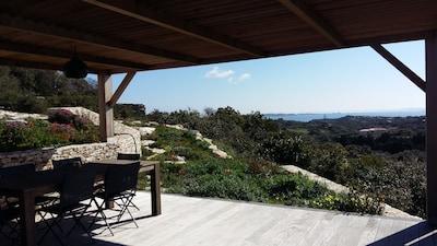 la terrasse et sa vue mer à 160°