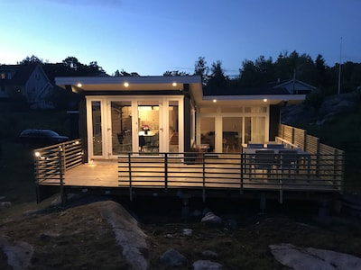 Wooden deck by night