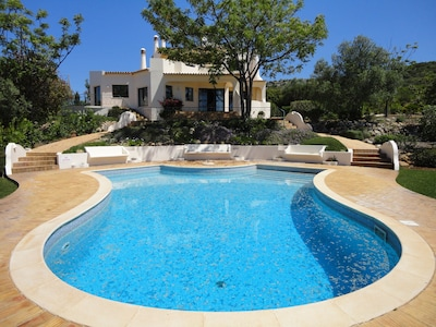 View of the villa from the south end of the pool