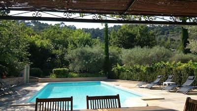 La vue sur la piscine depuis la table de la cuisine d'été.
