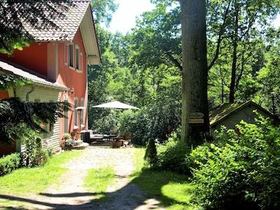Vorderansicht mit Terrasse für die Gäste
