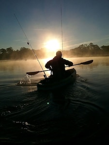 Kayak Fishing at sunrise (photo taken by Kayaker Haven guest)