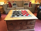 Checkers anyone? We have many games and dvds inside the tv cabinet.