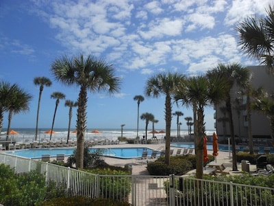 View of pool area facing beach