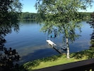 View from deck.  30 ft of dock plus swimming raft, paddleboat, kayaks, row boat.