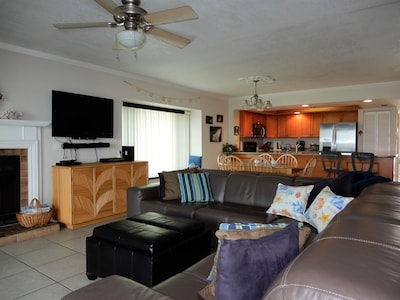 Large comfortable sectional sofa Living room has a great water view