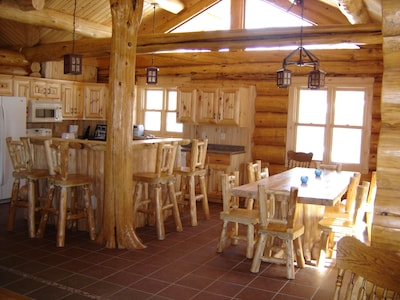 Well equipped kitchen and beautiful dining area.