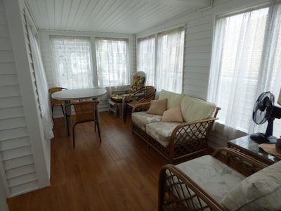 Enclosed porch upon entering the cottage