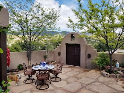 Beautiful view of the Sangre De Cristo Mountains in enclosed patio