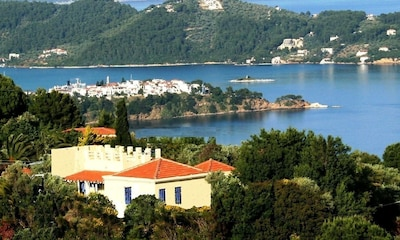Orchard Villa;  Skiathos village and harbour; Punta point.