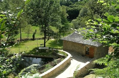Extérieur - Terrasse avec salon de jardin et barbecue - Bassin aquatique