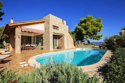 Pool view of the Villa. Such a wonderful place to spend your holidays!